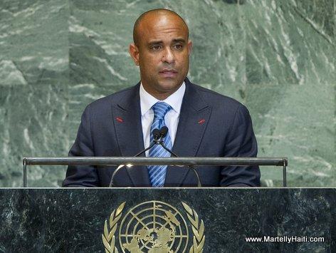 Haiti PM Laurent Lamothe speaking at the United Nations