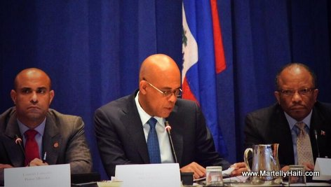 PHOTO: President Martelly giving his address at the Haiti Partners Meeting in NY