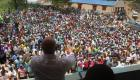 President Michel Martelly s'adressant a une foule immense
