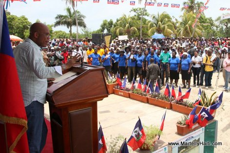President Michel Martelly a l'occasion de l'inauguration des ouvrages agricoles