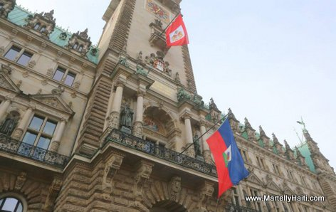 PHOTO: The Haitian Flag Fly High in Hamburg City Hall, Germany