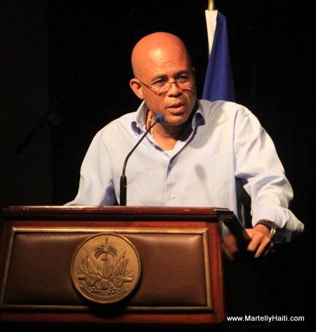 President Michel Martelly a l'occasion du lancement officiel du projet de l'Institut National de Musique d'Haiti (INAMUH)