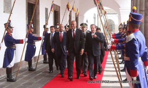 PHOTO: Haiti President Martelly ak PM Lamothe nan peyi Equateur pou yon visite officielle