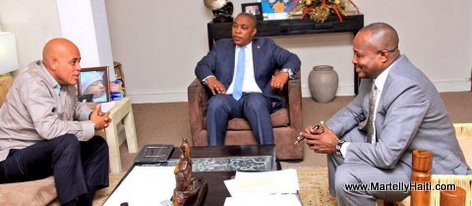 PHOTO: Haiti - President Martelly meets with Presidents Desras and Thimoleon at Palais National 15 Dec 2014