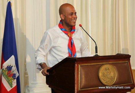 President Michel Martelly, president d'Honneur des Scouts d'Haiti s'adressant aux Scouts