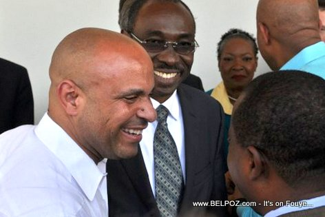 PHOTO: Prime Ministers Laurent Lamothe and Evans Paul at Marriott Hotel Inauguration