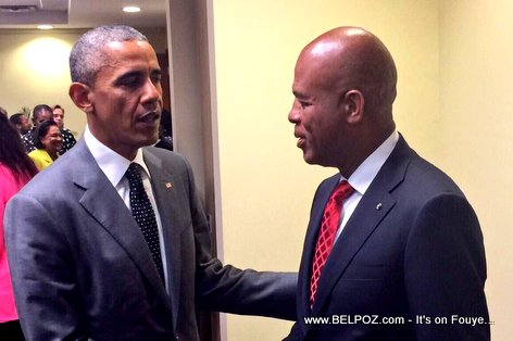 PHOTO: President Martelly rankontre ak Barack Obama Jamaica