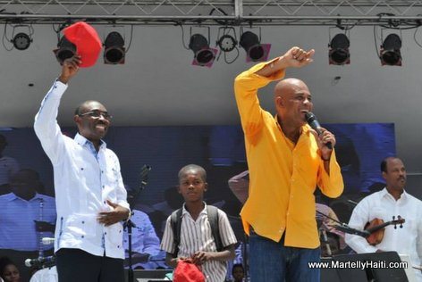 PHOTO: Haiti - President Martelly, PM Evans Paul - Inauguration Kiosque Occide Jeanty