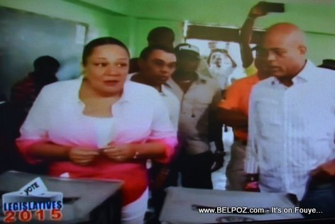 PHOTO: Haiti - President Martelly and First Lady Voting in 2015 Legislative Elections