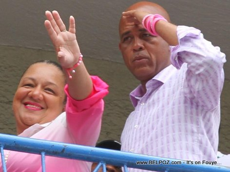 Haiti - President Martelly and first lady Sophia Martelly after voting in August 2015 elections