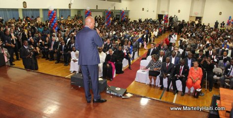 Haiti President Martelly addressing Haitian Diaspora in Spring Valley NY