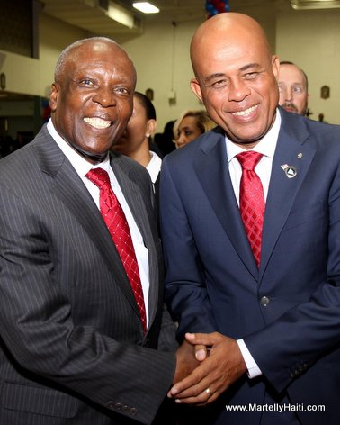 Haiti President Martelly and Spring Valley Mayor Demeza Delhomme