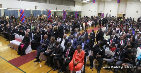 Haitian Diaspora Crowd in Spring Valley NY listens to President Michel Martelly at St Joseph School