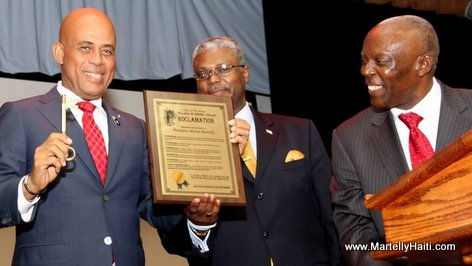 Haiti President Martelly receives the key to the City of Spring Valley NY