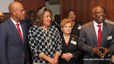 Haiti President Martelly, First Lady Sophia and Spring Valley Mayor Demeza Delhomme