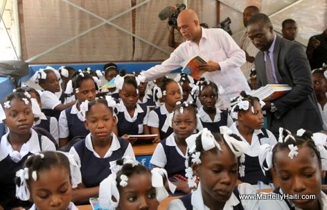President Michel Martelly a l'ecole Nationale Republique des USA