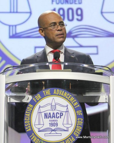 President Martelly lors de son allocution a la 104eme Convention du NAACP