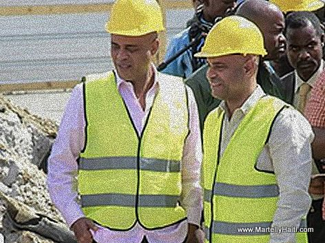 President Martelly and Prime Minister Lamothe at Delmas Road Construction site