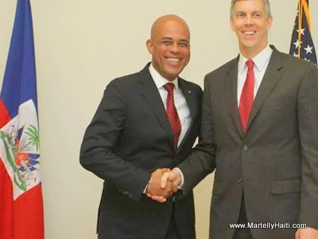 U.S. Secretary of Education with Haitian President Michel Martelly