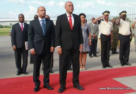 President Martelly before departing for official trip to Jamaica