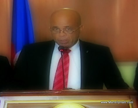 President Martelly Making a Speech before trip to Jamaica