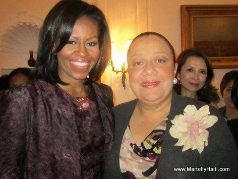 First Ladies Sophia Martelly (Haiti) and Michelle Obama (USA)