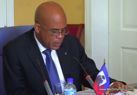 Haiti President Martelly making a speech at CARICOM