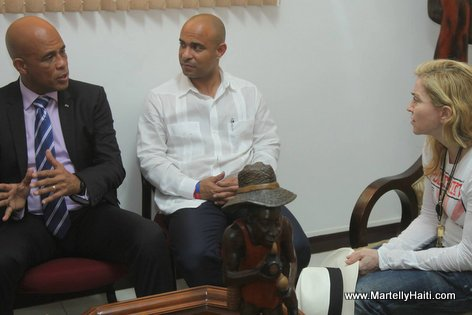Haiti President Martelly, Laurent Lamothe and Madonna