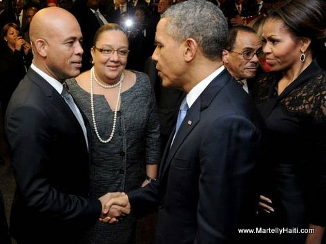 Presidents Michel Martelly and Barack Obama Shaking Hands