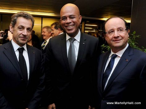 Presidents Michel Martelly (Haiti),  François Hollande (France) & Nicolas Sarkozy