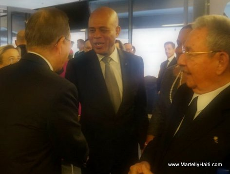 President Martelly, le Secr taire G n ral de l'ONU, Ban Ki-Moon et le Pr sident cubain Raul Castro