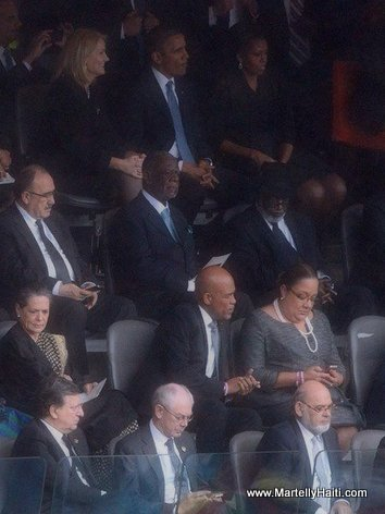 Proximity of Haiti President Martelly to Obama at Nelson Mandela Funeral