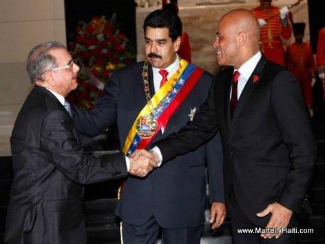 Prezidan Martelly ap salye Danilo Medina, prezidan Dominiken-an  devan Nicolas Maduro, President Venezuela