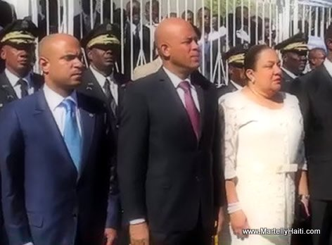 President Martelly, PM Laurent Lamothe, Sophia Martelly Gonaives 1er Janvier 2014