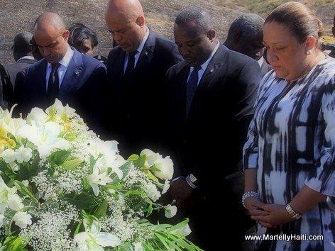 12 Janvier 2014 - President Martelly, PM Lamothe, Dieuseul Desras, Sophia Martelly