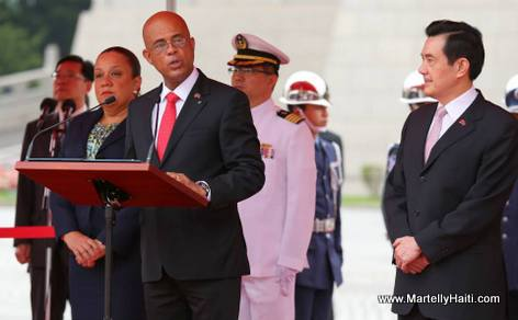 Haiti president Martelly making a speech during Taiwan Visit