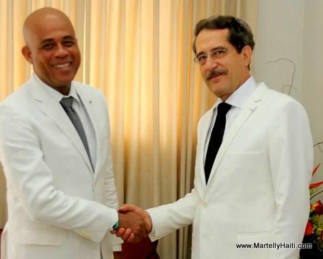 President martelly, Patrick Nicoloso, Ambassador of France to Haiti