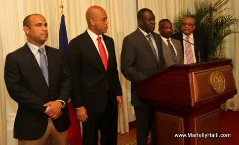 Premier Ministre Laurent Lamonthe, President Michel Martelly, le president de la Chambre des deputes, le president du Senat et le president de la Cour