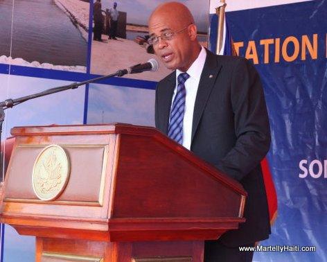 President Michel Martelly au cours de son intervention a l'inauguration de la station de traitement des excreta et d'eaux usees