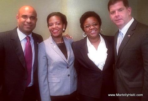 Haiti PM Laurent Lamothe, Senateur Linda Dorcena Forry et le maire de Boston, Marty Walsh