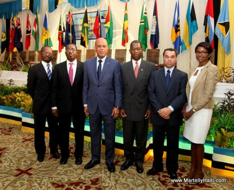 President Michel Martelly en compagnie de la Deleguation Haitienne