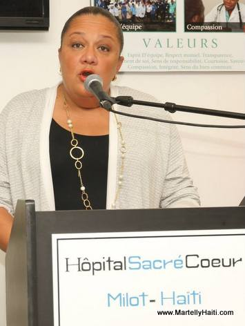 Sophia Martelly speaking at the Inauguration of the outpatient clinic at Hopital Sacre Coeur de Milot