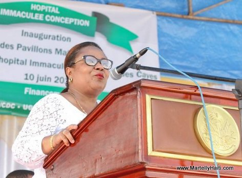 Ministre Florence Guillaume - Inauguration Hopital OFATMA de Cayes Haiti