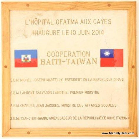 Plaque - Inauguration Hopital OFATMA de Cayes Haiti