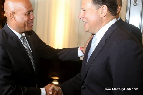 President Michel Martelly et Juan Carlos Varela, le nouveau President elu du Panama
