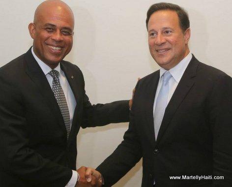 President Michel Martelly et Juan Carlos Varela, nouveau President elu du Panama