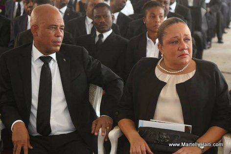President Martelly, Sophia Martelly, Funerailles nationale Leslie Manigat