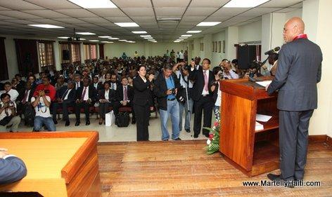 President Michel Martelly prononcant son allocution